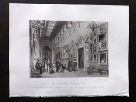 London Interiors 1841 Antique Print. The Picture Gallery, Buckingham Palace